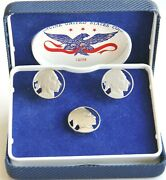 Swank Cut-out Genuine Us Buffalo Nickel Coin Cuff Links And Tie Tack With Case