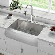 30'' Stainless Steel Single Bowl Farmhouse Apron Mount Kitchen Sink With Faucet