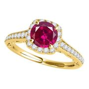 Gemstone Halo Engagement Rings For Women 1.15 Cttw Center Created Ruby Antique