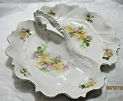 R S Prussia E Z Clermont Germany Mark Floral Divided Handled Bowl