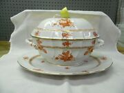 """Huge 15"""" Herend Hungary Chinese Bouquet Rust Soup Tureen W Under Tray Platter"""