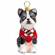 Boston Terrier In Red Coat And Scarf Polish Glass Christmas Ornament