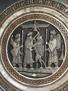 Vintage Pewter Embossed Decorative Plate Metal Wall Hanging Relief Egyptian