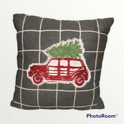 Christmas Tree Farmhouse Throw Pillow Red Truck With Plaid Holiday Home Decor