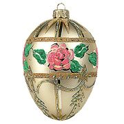 Faberge Inspired Flower Bouquet Egg Polish Glass Christmas Or Easter Ornament