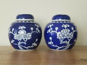 C.20th - Antique Chinese Prunus Porcelain Small Ginger Jars