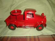 So Cute Old Fashion Red Truck Candle Holder Or Small Plant-farmhouse Decor-metal