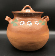 Mexican Red Clay Pottery Cooking Pot 3 Qt. Bean Pot Handmade Vintage 1990