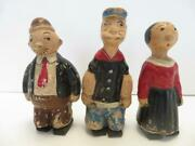 Vintage 1929 Popeye Olive Oyl And Wimpy Composite Wooden Walkers Thimble Theatre