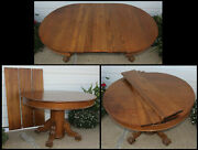 Antique Quarter Sawn Oak 45 Round Claw Foot Dining Table W 3 Leaves We Ship