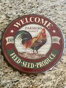"""Welcome Farmers Market""""tin Metal Sign Rooster 14"""" Round Bottle Capvtg Look"""