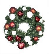 Pre-lit Warm White Led Sequoia Wreath Decorated With The Candy Ornament Collecti