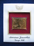 2008 American Journalists George Polk Fdc Replica 22kt Gold Golden Cover Stamp