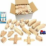 Tiny Conductors 67 Piece Wooden Train Track Set With Train Car, 100 Real Wood,