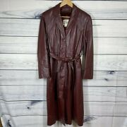 Vintage Bermanand039s Burgundy Lined Leather Trench