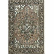 7and0397x11and0397tan Color Vintage Farsian Herisdistressed Wool Oriental Rug R60404