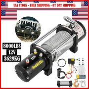 8000lbs Electric Winch 12v Synthetic Rope Off-road Atv Utv Truck Towing Trailer