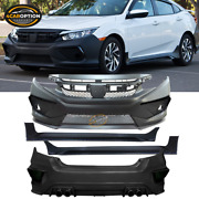 Fits 16-21 Honda Civic Concept Style Front Rear Bumper Conversion + Side Skirts