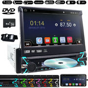 Single 1 Din 7 Car Dvd Cd Player Stereo Flip Out Touch Screen Aux Radio Camera