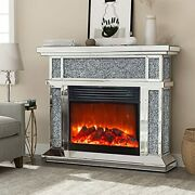 Mirrored Electric Fireplace Fireplace Mantel Freestanding Heater Firebox With...