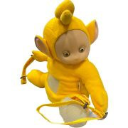 Teletubbie Laa Laa Yellow Plush Backpack 1998 15 Rubber Face Has Original Tag
