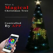 Christmas Artificial Tree With Led Magic Lights Voice Control Beads Decorations