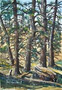 David Hagerbaumer Signed Original Gouache - Coulter Pines Mt. Pinos Calif.
