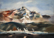 Dong Kingman Signed 1946 Original Double-sided Watercolor - South Mountain