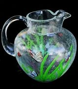 Unusual Enamel Decor Crackle Glass Water Pitcher Old