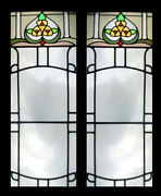 Art Deco Pair Of English Stained Glass Windows Very Stylish