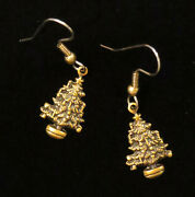 Christmas Tree Earrings Brass Happy Holiday Trees Decorated Holidays Jewelry