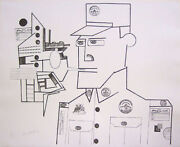 Saul Steinberg Signed 1970 Original Lithograph - The General