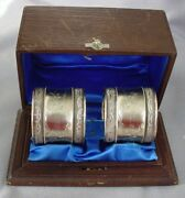2 Fine Antique Sterling Napkin Rings And Presentation Box
