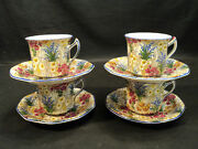 Set/4 Royal Winton Marquerite Chintz Cups And Saucers