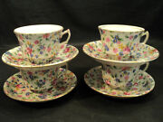 Set/4 Royal Winton Old Cottage Chintz Cups And Saucers