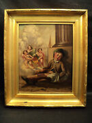Nice 19th C. Antique Oil On Canvas Original Painting Sleeping Child And Cherubs