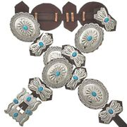 Navajo Copy Jim Morrison Sleeping Beauty Turquoise Stamped Silver Concho Belt