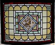 Rare Painted Bird In Blossom Antique English Stained Glass Window