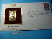 Ice Hockey Olympics 22kt Gold Stamp Commemorative Stamp Very Cool