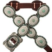 Native American Navajo Old Pawn Style Turquoise Stamped Silver Concho Belt