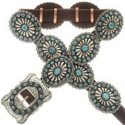 Vintage Old Pawn Native Style Stamped Silver Natural Turquoise Concho Belt