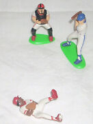 Lot Of 3 Vintage Hand Painted Plastic Baseball Players