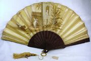 Incredible Antique Silk Painted Glass Eyed Dog And Snake Frame Fan The Best