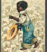 Rare Clapsaddle....black,negro Boy In Cotton Field,patched Jeans,love,postcard