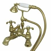 Kingston Brass Deck Mount Clawfoot Tub Faucet And Hand Shower Polished Brass