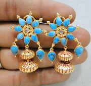 Vintage Antique Solid 18k Gold Turquoise And Diamond Polki Stud Earring Pair India