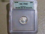 1939 Mercury Dime Proof-icg Pf68-excellent Free Shipping..