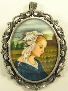 Antique Coin Silver Brooch Pendant Hand Painted Rendition Madonna Delle Roccie