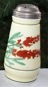 Vintage Glass Victorian Milk Glass Muffineer Shaker Floral Painted