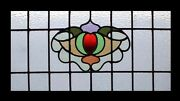 English Victorian Antique Stained Glass Window In Original Sash Frame